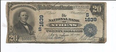 National Bank Note Athens Georgia $20 Blue Seal Reasonable Condition