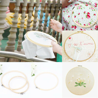Wooden Round Cross Stitch Hand Embroidery Hoops Ring Bamboo Frame Sewing Crafts