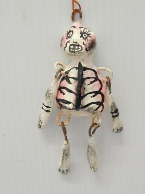 Vintage Mexican Skeleton Day Of Dead Hanging Figure Old+Heavy - Articulated Limb