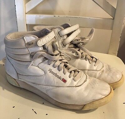 Reebok Classic White Leather Vintage High top Sneakers 6.5 White Women's
