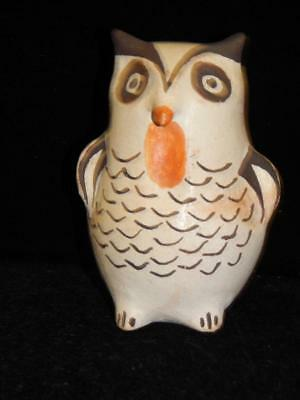 Lrg Vintage Owl Figural Acoma Indian Pottery Hand Coiled Effigy Pot Nice !