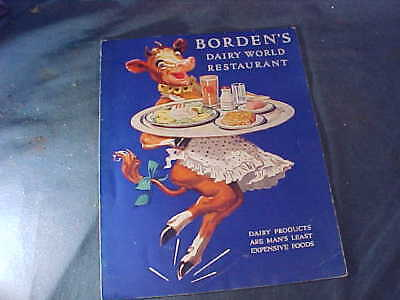 Orig 1939 NY WORLDS FAIR Souvenir MENU from BORDENS DAIRY WORLD Restaurant
