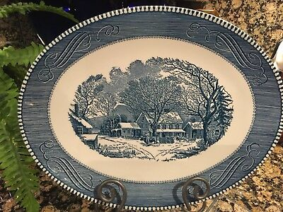 "Currier and Ives Blue Dinnerware 13""x10"" Oval Serving Platter Old Inn Winter"