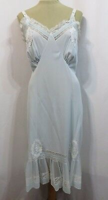 Vintage 50s Slip Full Crystal Pleats Pastel Blue Nylon Lace Pretty XL B40 Pinup