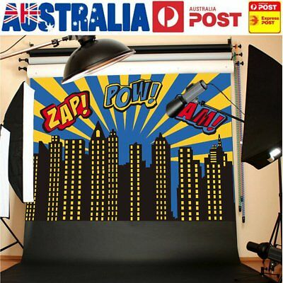AU 7x5FT SuperHero Theme Build Photography Backdrop Studio Photo Background Prop