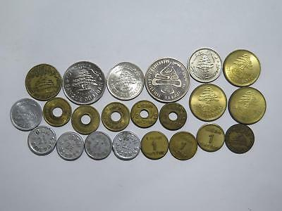 Lebanon 50 25 1/2 1 2 1/2 Piastre Livre Ww2 Mixed Old World Coin Collection Lot