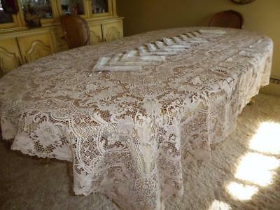"BEAUTIFUL HANDMADE taupe POINT DE VENISE LACE 110"" TABLECLOTH 12 NAPKINS"