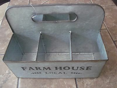 VINTAGE Farmhouse Galvanized Metal Basket Bucket Box w Compartments TOOLS PICNIC