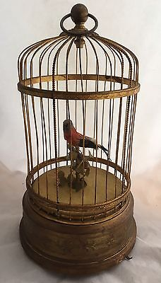 Antique Brass Round Mechanical Singing Bird In Cage Music Box Tail & Beak Move