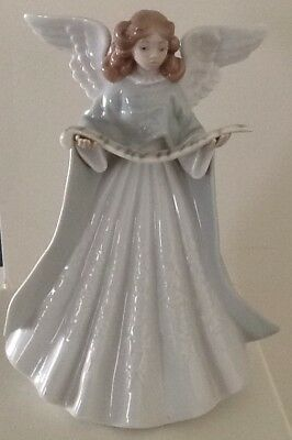 LLADRO FIGURINE ANGEL TREE TOPPER NAVIDAD CANTANTE Green ROBE Christmas