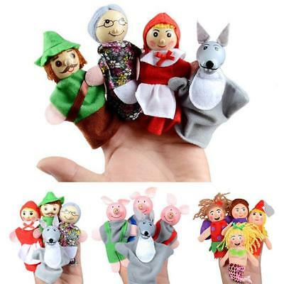4PCS Family Finger Puppets Cloth Doll Baby Educational Toys Puppet Fairy Tales J