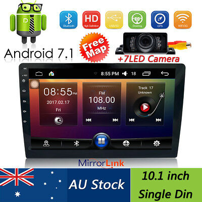 "10.1"" Quad Core Android7.1 Car Stereo Player Radio Single 1DIN 4G GPS OBD2 WIfi"