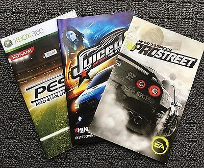3x Game Manuals -PES 2009, JUICED 2, NEED FOR SPEED PRO STREET (Xbox 360 & PS2)
