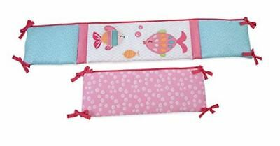 Carter's Sea Collection Traditional 4 Piece Padded Bumper, Pink/Blue/Turquoise