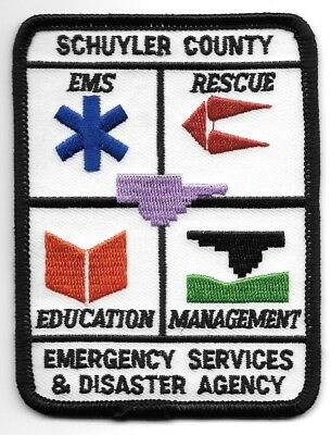 """Schuyler County Emergency Services - Disaster, New York (3"""" x 4"""") fire patch"""