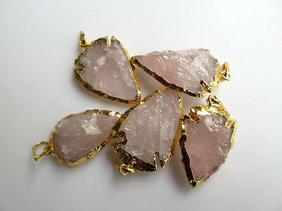 25 Pcs Raw Rose Quartz Arrowheads Electroplated with Gold Edge Pendant Connector