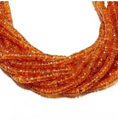 17 Inch Strand Spessartine Mandarin Orange Garnet Rondelles Beads 4-6mm Each