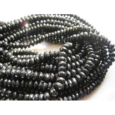 Black Spinel Micro Faceted Rondelle 7mm Beads 10 Inch Strand 70 Pieces Approx
