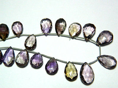 Ametrine Briollete Faceted Pear Beads Ametrine 10x18mm To 11x18mm Each 19 Pieces