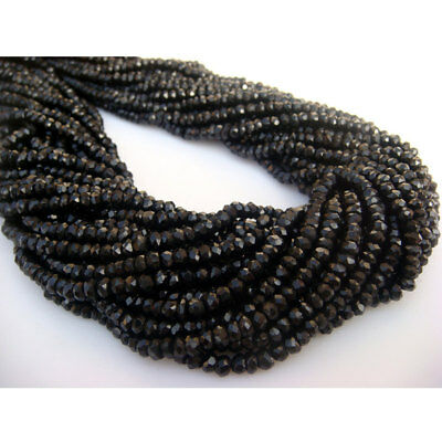Black Spinel Micro Faceted Rondelles 3mm 14 Inch Strand I10