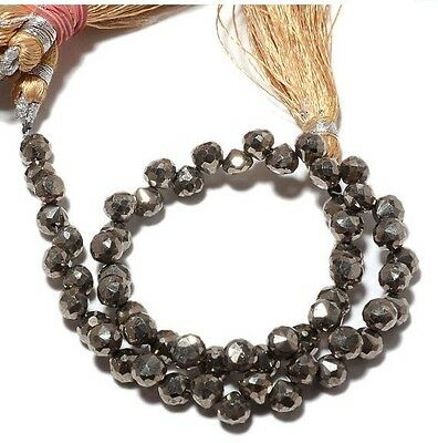 Natural Pyrite Onion Beads Faceted Briolette Beads 6mm Beads 5 Inch Strand M69