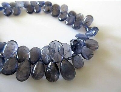 Natural Smooth Iolite Pear Shaped Briolette Beads 9 Inch Calibrated 5x8mm GDS765