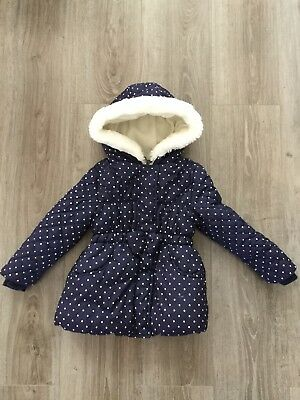 Girls Blue Hooded Quilted Coat. Age 4-5. Excellent Condition.