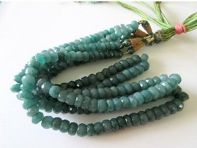 Green Corundum Faceted Emerald Beads/8mm To 10mm Beads/9 Inch Half Strand/ GDS82