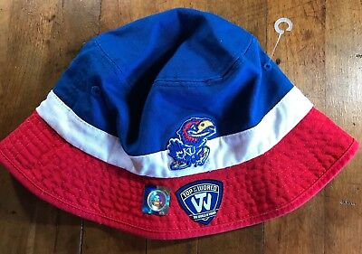 official photos ffad2 bd49a NEW with TAGS Kansas Jayhawks KU Bucket Hat Fishing Cap Top of the World  NCAA