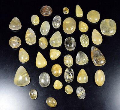523.00 Cts. 100 % Natural Aaa High Quality Golden Rutile Mix Cabs Loose Gems