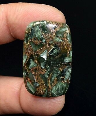 Beautiful  35.95 Cts. Natural Copper Seraphinite Cab For Sterling Silver Jewelry