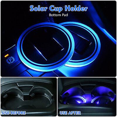 2X Car Solar Energy Cup Holder Bottom Pad Blue LED Light Cover Moulding Ambient