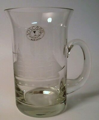 Toscany Hand Blown Beer Stein Etched Clipper Ship Design Romania