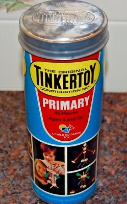 Vintage TINKERTOY Construction Set Primary No. 106 Canister (COMPLETE 45 PIECES)