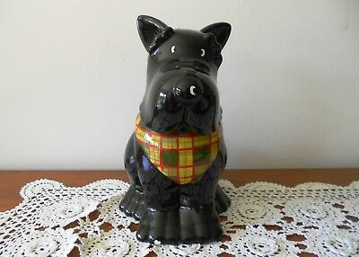 Black Scotty Dog Biscuit Barrel Or Cookie Canister With Seal