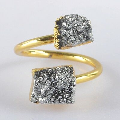 Size 6.75 Natural Agate Titanium Druzy Adjustable Ring Gold Plated T039579