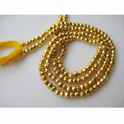 Gold Pyrite Gem Stone Micro Faceted Coated Rondelles 3.5mm Beads 14 Inch Strand