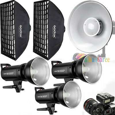 3Pcs Godox SK300II 300W 2.4G Wireless X System Flash Softbox Trigger Beauty Dish