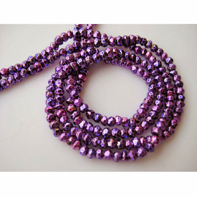 Purple Pyrite Gem Stone Micro Faceted Coated Rondelles 3.5mm Beads 14 Inch Stran