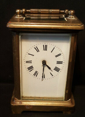 Vintage French Brass Carriage Clock. Spares or Repair.