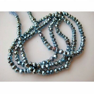Blue Pyrite Gem Stone Micro Faceted Coated Rondelles 3.5mm Beads 14 Inch Strand
