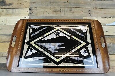 Vintage Antique Art Deco Inlaid Mahogany Decorative Butterfly Dinner Tray