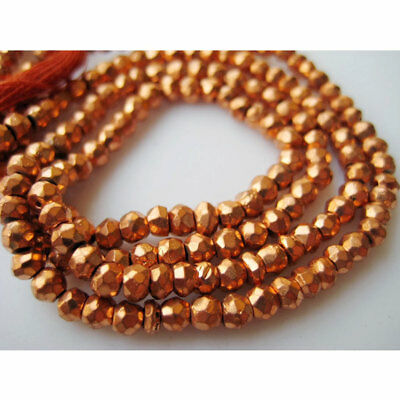Orange Pyrite GemStone Micro Faceted Coated Rondelles 3.5mm Beads 14 Inch Strand