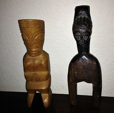Two African Hand Carved Wooden Statues