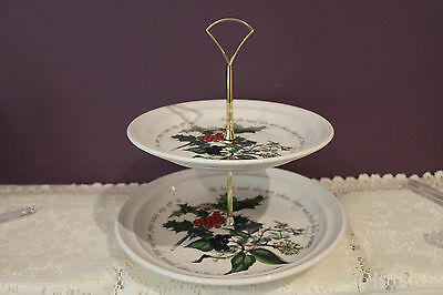 Portmeirion 2-Tier Cake Stand - Holly & Ivy