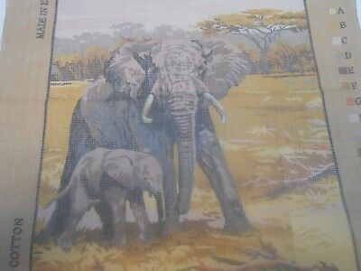 """Penelope """"Elephant"""" Printed Tapestry Canvas two free wools"""