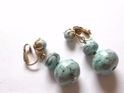 Vintage 50's Turquoise Blue Lucite Bead Beaded Clip On Dangle Drop Earrings