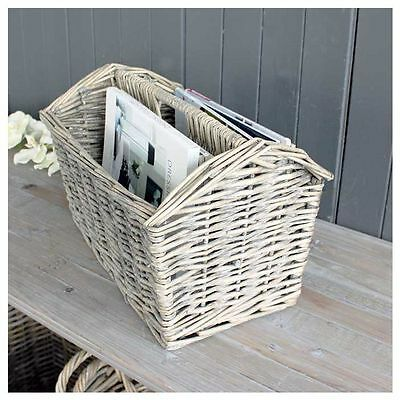 Grey Washed Ash Wicker Basket Magazine Holder
