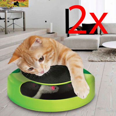2 X Cat Kitten Catch The Mouse Plush Moving Toy Scratching Claw Mat Play Toy