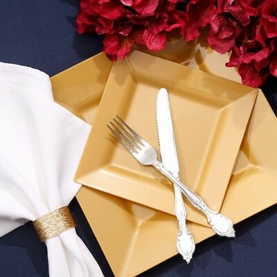 GOLD PARTY PLATES Plastic Square Catering Birthday Party Tableware Table Cutlery